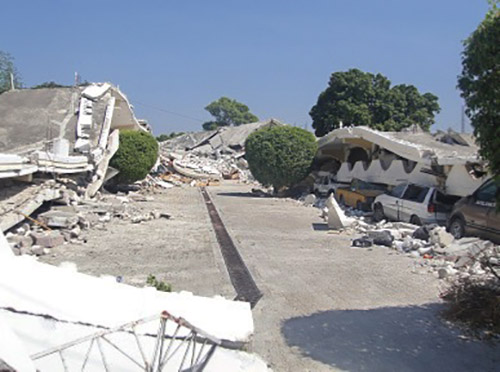 Rubble in the aftermath of the earthquake in Haiti.