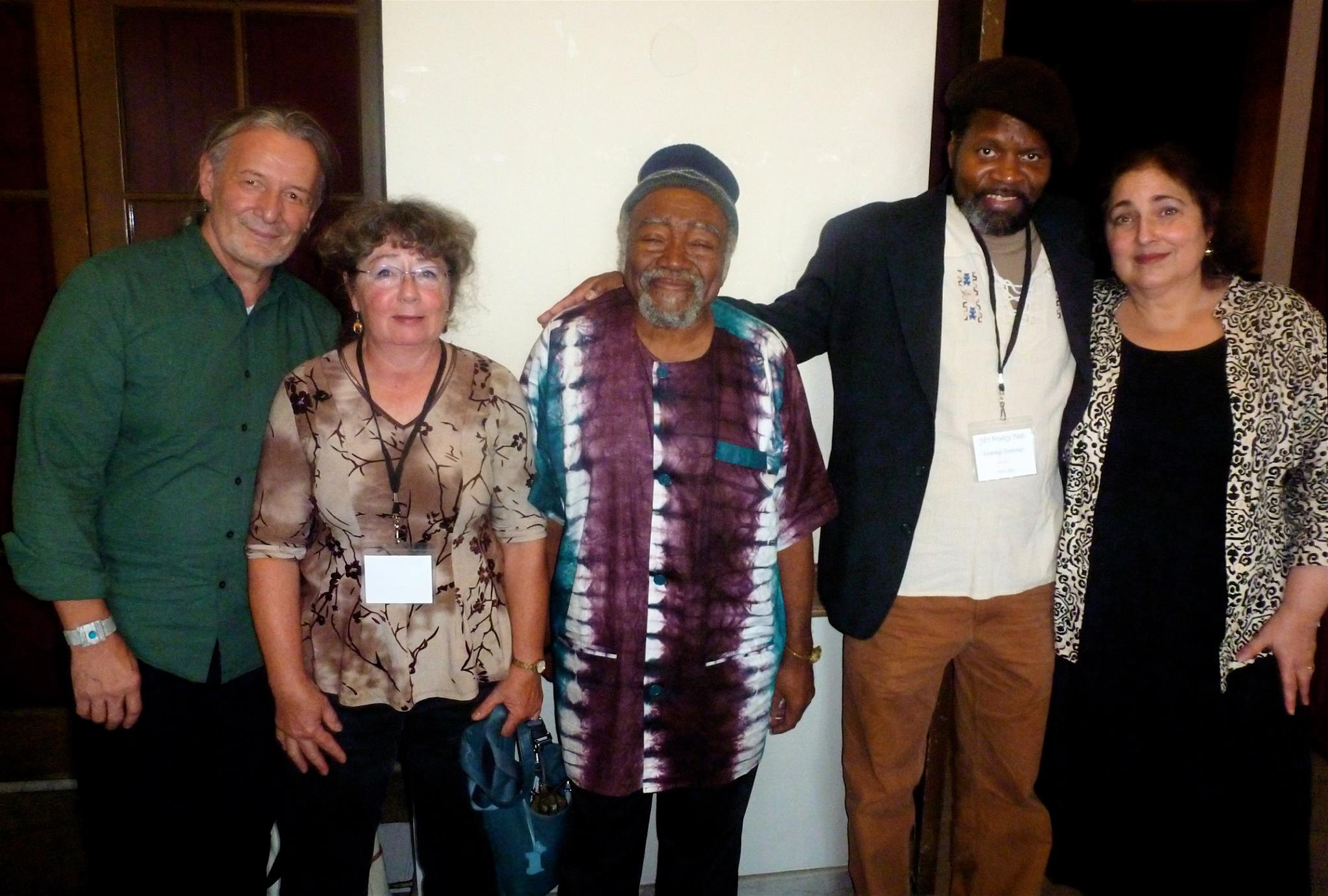 Liberation Poetry Collective poets Richard Cambridge (from the left), Patricia Frisela, Askia Touré, Tontongi and Jill Netchinsky at New Hampshire's first poetry festival in 2015.